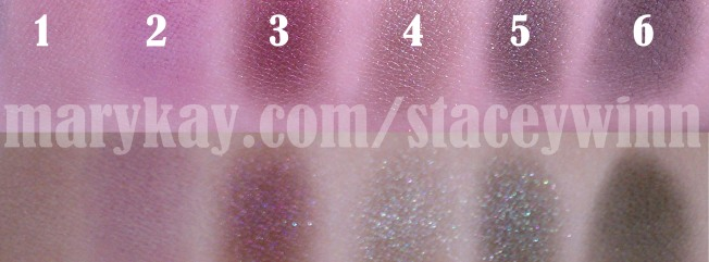 Swatch of Lavender Fog, Iris, Sweet Plum, Silver Satin, Black Pear and Coal eyeshadows
