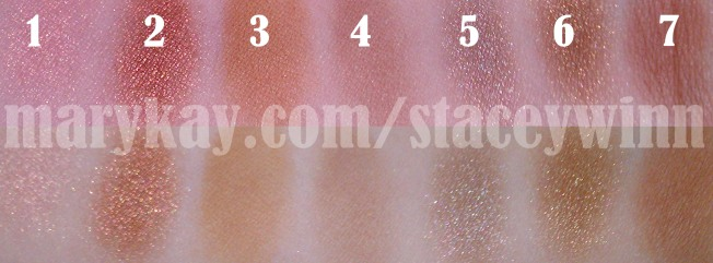Swatch of Precious Pink, Copper Glow, Almond, Hazelnut, Granite, Chocolate Kiss and Sienna eyeshadows